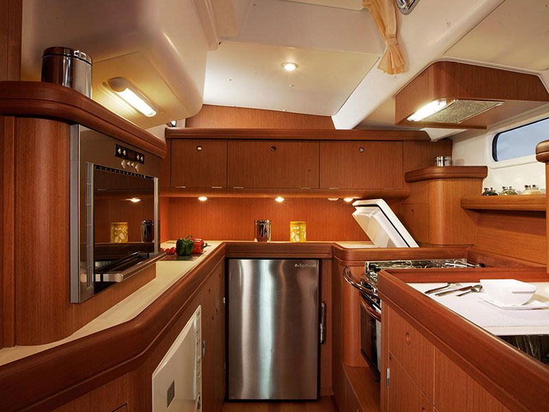 Monohull sailing yacht Beneteau 57's luxury galley for the perfect sailing holidays