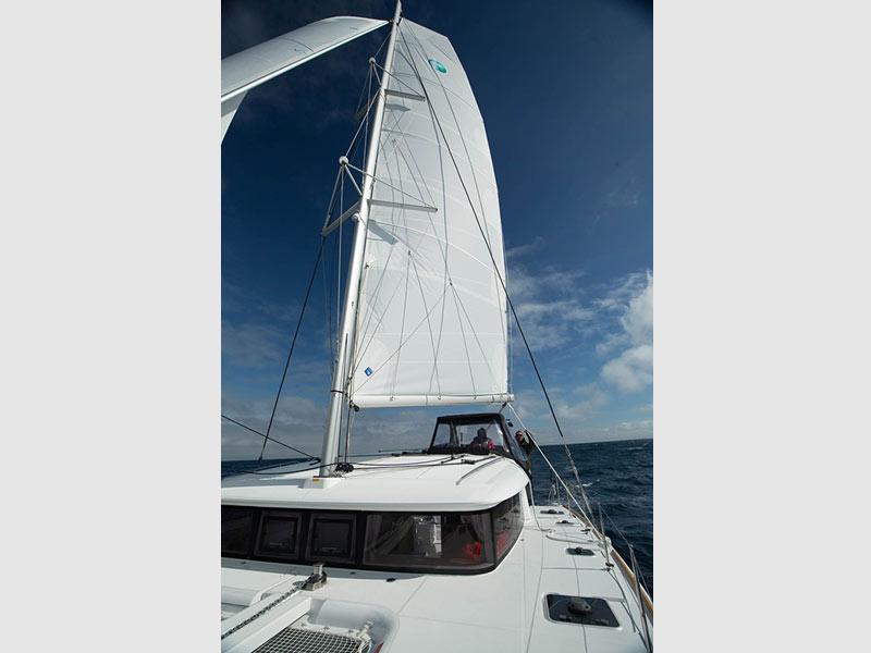 Lagoon 400 catamaran charter sailing around the Greek islands